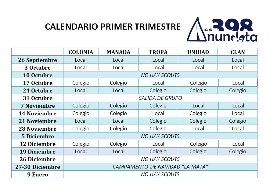 Calendario 2015-16 Primer trimestre