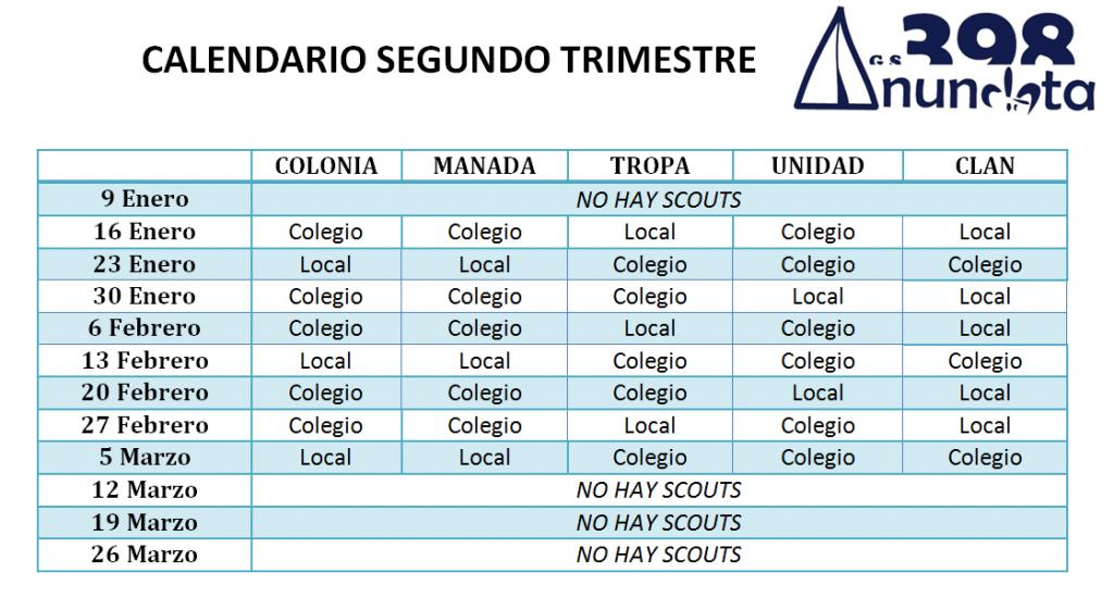 Calendario 2015-16 Segundo trimestre